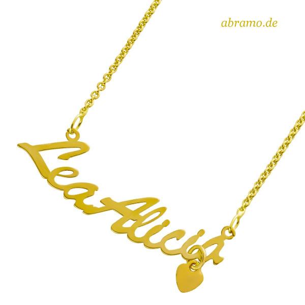 Namenskette Gold mit Herz