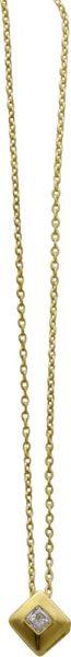 Collier in Gelbgold 375/- mit Zirkonia 3x3mm, anhänger5x5mm, federringverschluss,40cm