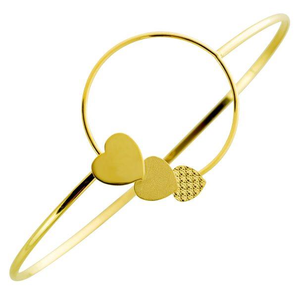 UNO A ERRE Herzarmreif verspielt Goldkreis Gelbgold 375  Damenschmuck