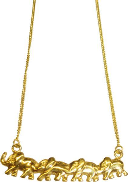Goldkette, wunderschönes Collier in feinem Gelbgold 333/- Hochglanzpoliert, Länge 38cm, verziert mit einer wandernden Elefantenreihe, Länge 34mm, das Collier besitzt einen stabilen Karabiner Verschluss, selbstverständlich gibt es das Collier nur in Spitze