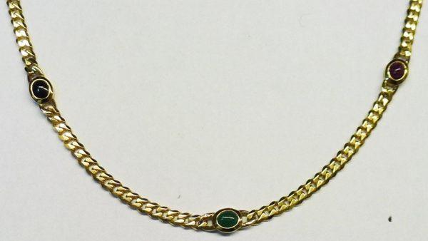 Collierpanzerkette Gelbgold 585/- Massiv Rubin Saphir Smaragd