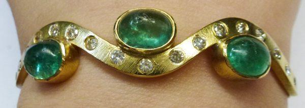 Armreif Gelbgold 750/- Smaragde Brillant...