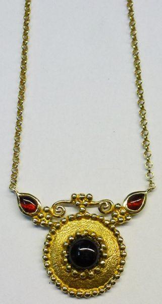 Etruskisches Erbsencollier Gelbgold 585/- Granaten