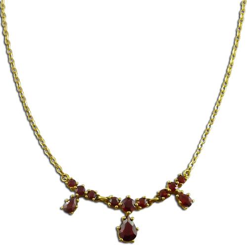 Kette in Gelbgold 585/- mit 12 Granate,...