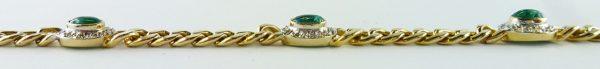 Panzerarmband, Gelbgold 585/-, 4 Smaragd...