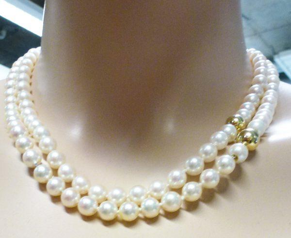 Perlenkette, Perlencollier, japanische Akoyzuchtperlen, Perle 7-7,5mm, Gelbgoldzwischenteile 585/-