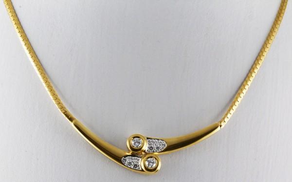 Diamantcollier Brillantkette Gelbgold 58...