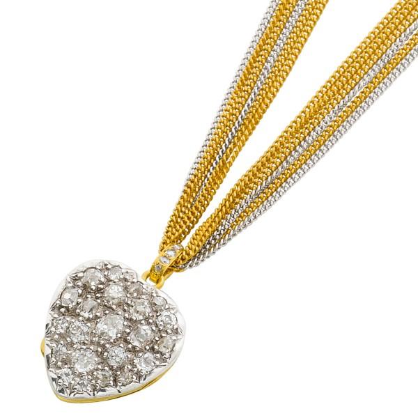 Collier Antik Kronjuwel Biedermeier Epoche Herzmedaillon Gelbgold 750 Silber 800 27 Diamanten ca 8,00ct TW/SI Altschliff, 42cm