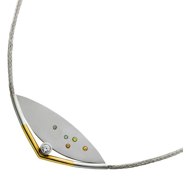 Kette – Collier Vorderteilcollier Antik Platin 950 Gelbgold 750 6 Diamanten 0,40ct TW/VVSI