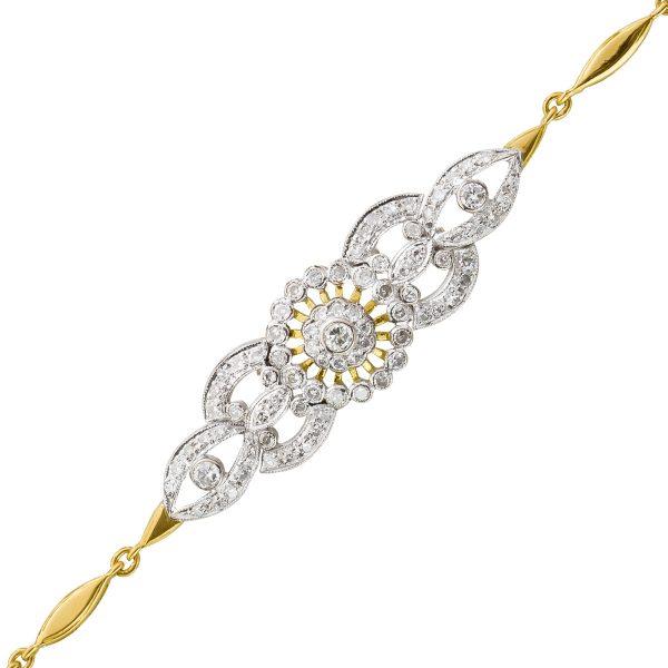 Edelsteinarmband Diamanten Gelbgold Weis...