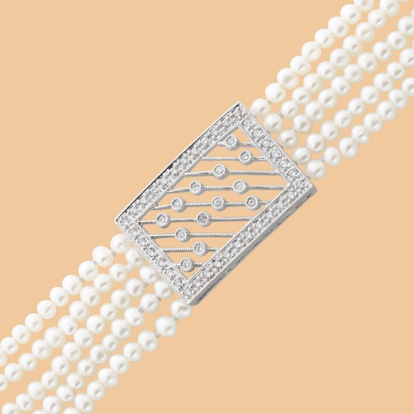 Armband Perlenarmband Weissgold 585 5-re...
