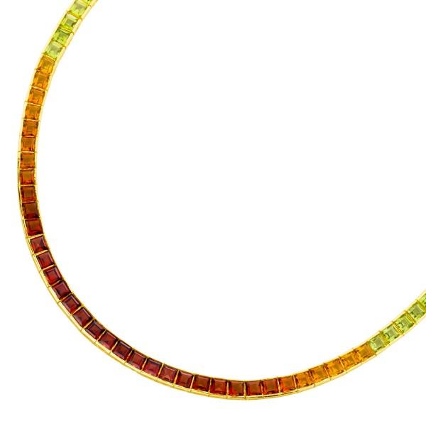 Edelsteincollier Gelbgold 585  Amethyst ...