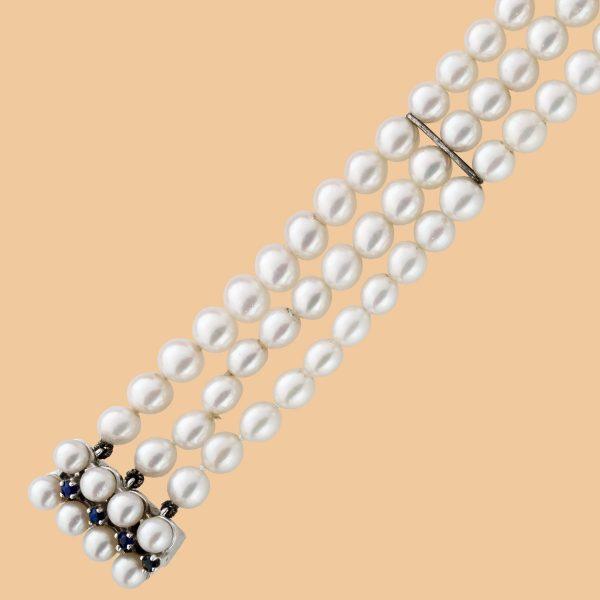 Vinatge  Armband 3-reihig weiss-rosé fa...