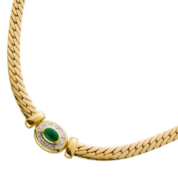 Smaragdcollier Gelbgold 585 Cabochon Bri...