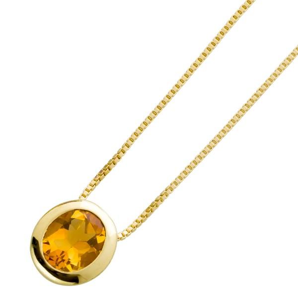 Citrin Collier Gelb Gold 585 Venezianerk...