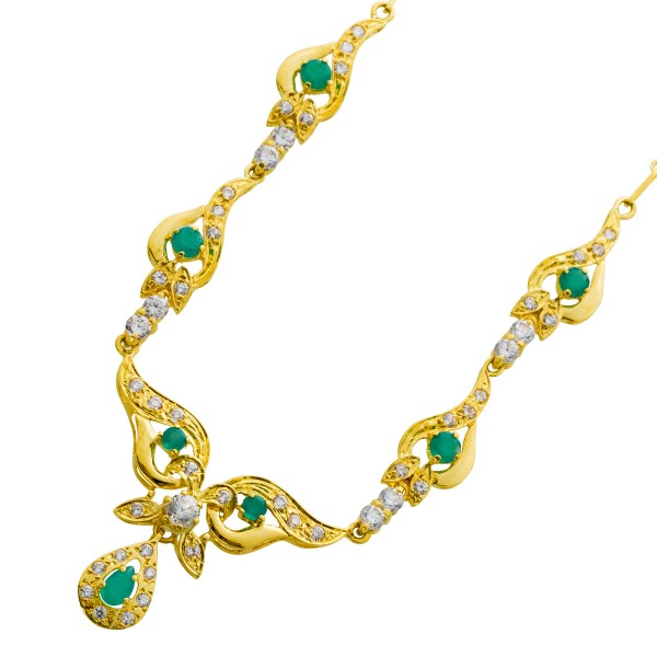 Antike Smaragd Kette grün Gelbgold 750 ...