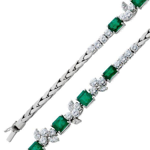 Antikes Smaragdarmband Weissgold 750 grüne Smaragde Brillanten Diamanten IGI Zertifikat, 18,5cm