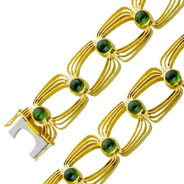 Antikes grünes Turmalin Edelstein Armband Gelb Gold 585 Damen 18,8cm  57,7GR  Görg Zertifikat