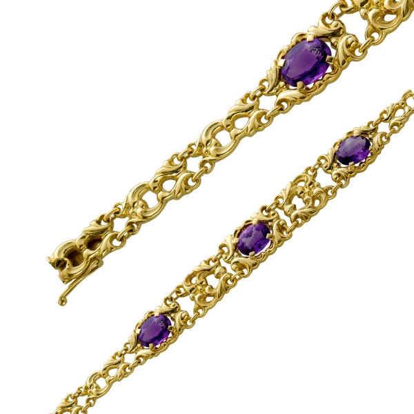 Antikes Edelstein Armband Amethyst lila Gelbgold 585/- um 1950