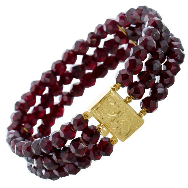 3-reihiges Antikes Armband roten Granaten Gelbgold 585 Edelsteinarmband