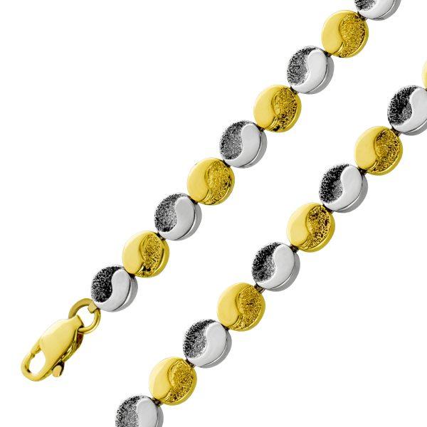 Antikes Ying und Yang Armband mattiertem poliertem Gelb Weißgold 585 beweglich