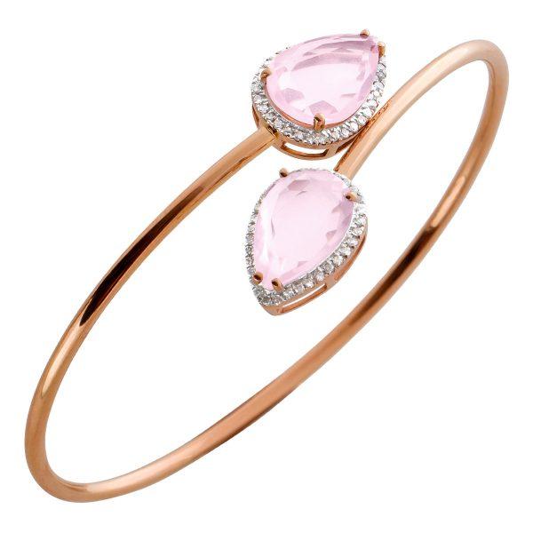 Antiker Armreif um 1980 rosafarbenen Rosenquarzen Rosegold 750 weißen Diamanten 0,70-0,80ct W/P1 Görg Zertifikat