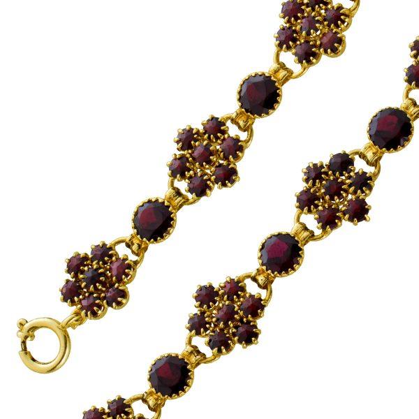 Antikes Granat Armband Gelbgold 333 rot braune Edelsteine Länge 18,5cm poliert 11,7 Gramm