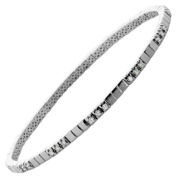 Antikes Brillant Armband Strech durch Weissgoldfedern um 1980 Top Zustand 585 Weissgold 33 Brillanten 1,00ct.TW/VVSI 18,5-22cm Einzelstück