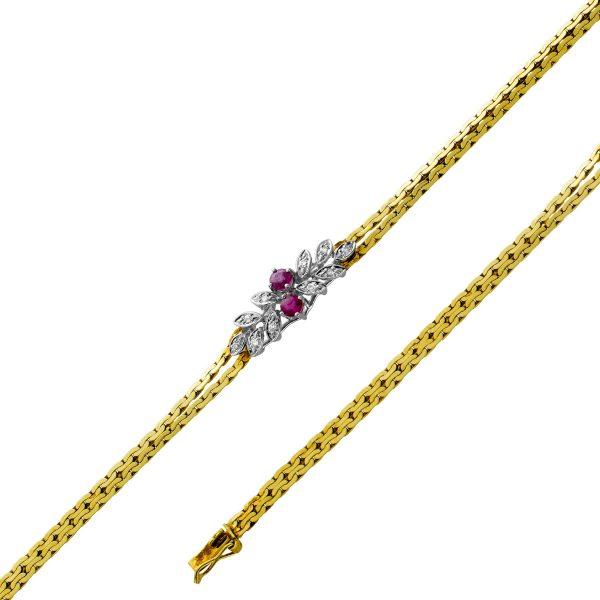 Antikes Diamant Rubin Armband Gelbgold Weissgold585,2 Rubinen,10 Diamanten,TW/VSI ,0,10ct,Länge 18cm