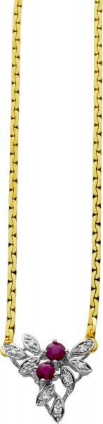 Antike Diamant Rubin Kette Gelbgold 585, 8 Diamanten 0,08 ct TW/VSI