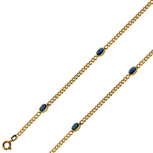 Edelstein Armband Gelbgold 333, 3 Safire, Antik,Panzerkette,19cm