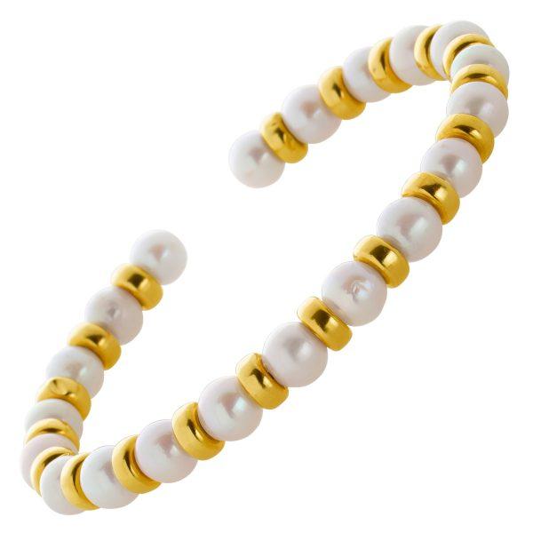 Antiker Vintage Perlenarmreif feine Japanische Akoyaperlen Goldzwischenteilen Gelbgold 585