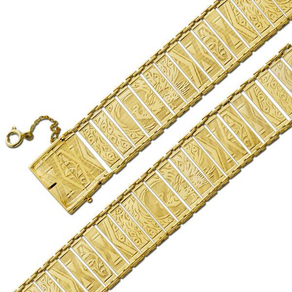 Goldarmband Gelb Gold 585 massiv Unikat Antik 1900 18,2 Gramm 18,5cm