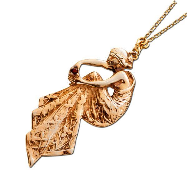 Antikes Collier 1900 Gelbgold 333 Fortuna Anhänger Granat Edelstein Antiker Glücksbringer Unikat