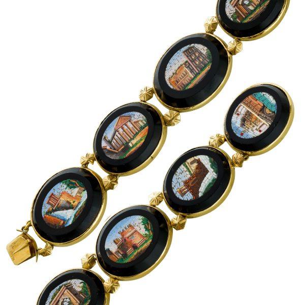 Antikes Armband 1850 Gelbgold 585 Roma Eterna Mikro Mosaik Onyx 7 Kunstwerke Heiliger Gebäude der Vatikanstadt Rarität