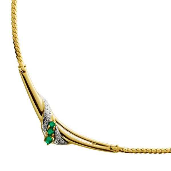 Antikes Vorderteil Collier mit Flachpanzerkette Gelbgold 8 Karat 5 Diamanten W/J1 Total 0,03ct 3 Smaragd Edelsteine 45cm