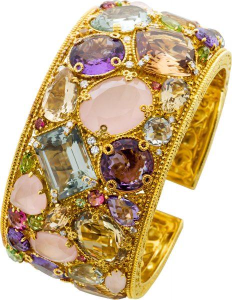 Judith Ripka Edelstein Armreif Gelbgold 750/- Multicolor Diamanten Brillanten 1,15ct TW/VSI Görg Zertifikat
