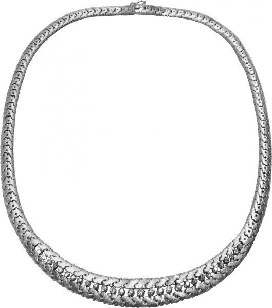 Exklusives Diamant Collier 45 cm lang aus feinsten Weißgold 750/-, besetzt mit 29 funkelnden Brillanten ca. 0,70 ct TW/VVS und stabilem Kastenverschluss mit Sicherheitsacht und Drücker. Breite ca. 11,9 mm, Stärke ca. 4,2 mm. Ein sehr hochwertiges, wunderv