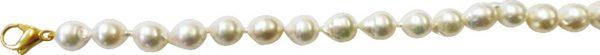 Perlenkette – Perlencollier 45cm lang aus echten, wunderschön glänzenden Roséfarbenen japanischen Akoyazuchtperlen (ca. 9,2 mm) in Barockforn mit Karabinerverschluss aus hochwertigem Gelbgold 585/-. Ein edles Accessoire und Unikat von zeitloser Eleganz fü