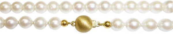 Perlenkette – wunderschönes Perlencollier mit Japanischen Akoyazuchtperlen in der Länge 40cm, mit fast makellosen und runden Perlen, und mit wunderschönem cremefarbenem Lüster, mit einem feinem Kugelverschluss in Gelbgold 375/-, der diamantiert ist, selbs